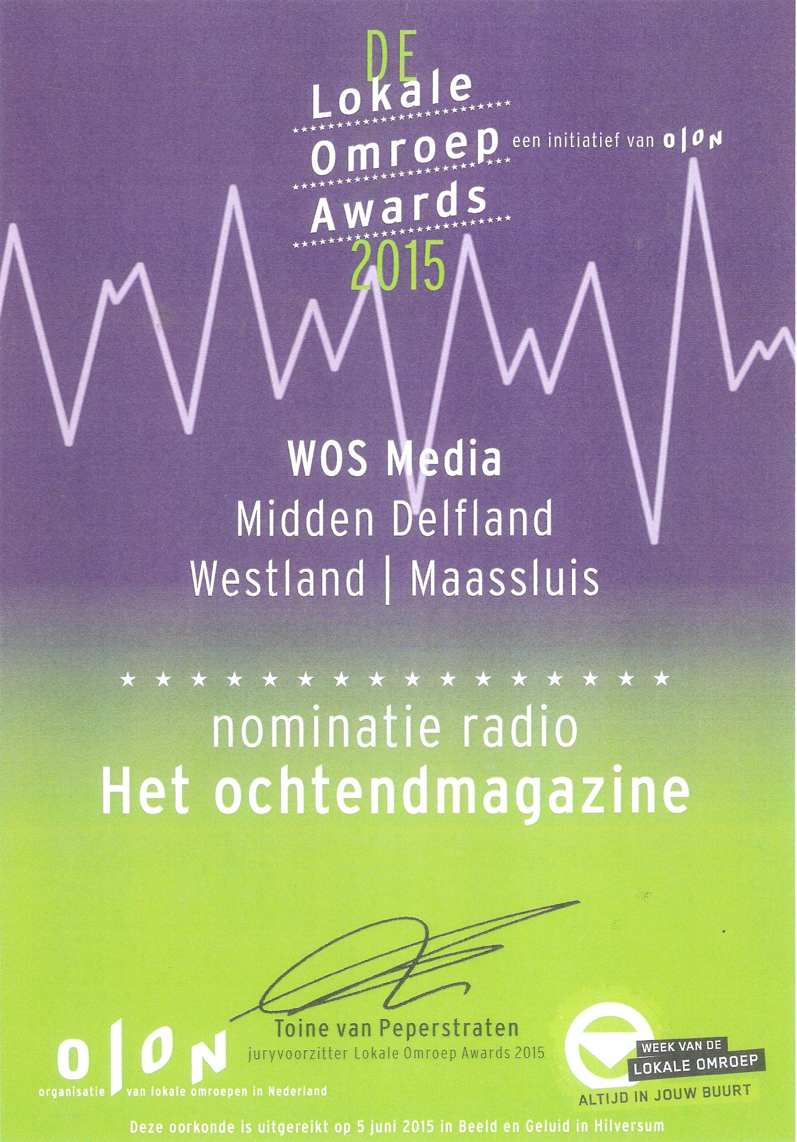 Nominatie Olon Award 2015